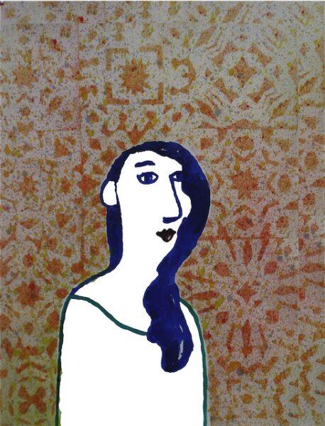 portrait-mosaic blue girl