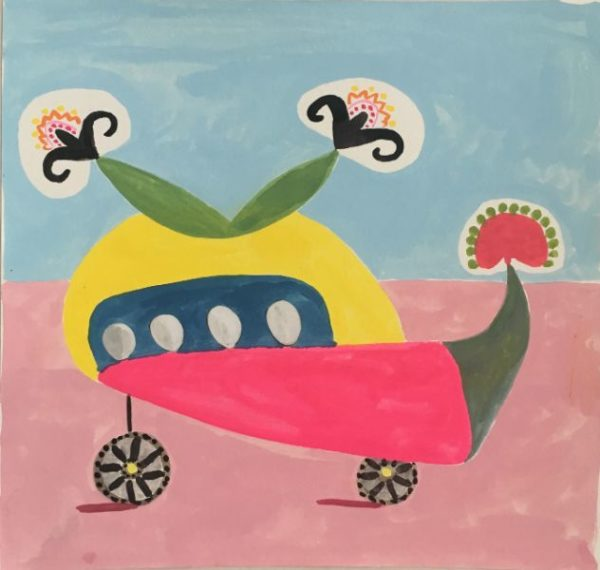 HAPPY BUGGY gouach on paper  12x12