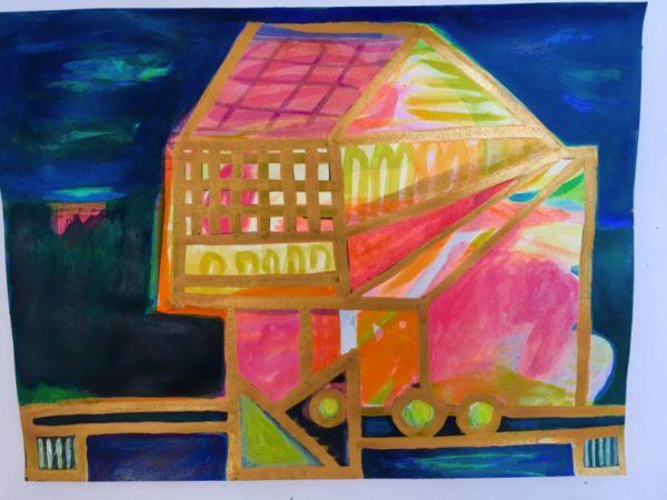 Light House  9x12 watercolor, gouache & gold on paper