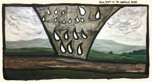 Rain Drops in the Lamoille River  ink & acrylic on thin paper