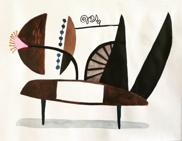 STUDIO ANIMAL   18x24 ink and watercolor on paper SOLD