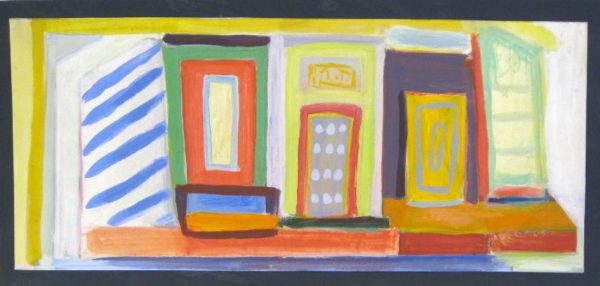 Storefront  8 x 22  acrylic on paper  SOLD