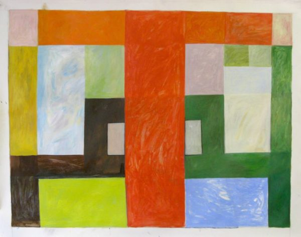 SUBURB SQUARE  42 x 32 acrylic on paper   SOLD