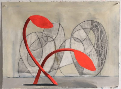 Frond Ballet acrylic, charcoal on paper 22x30