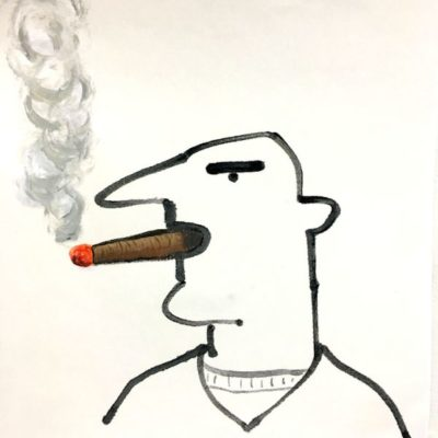 """Sam and Cigar  12.5""""x 12.5""""  handpainted print, ink and acrylic"""